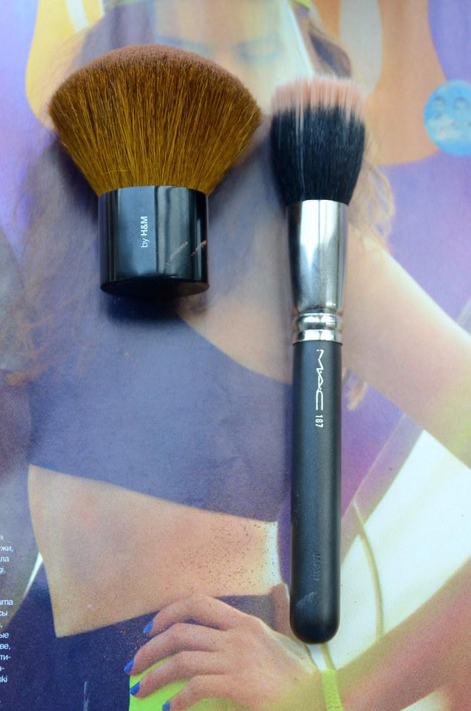 hm kabuki brush and mac brush