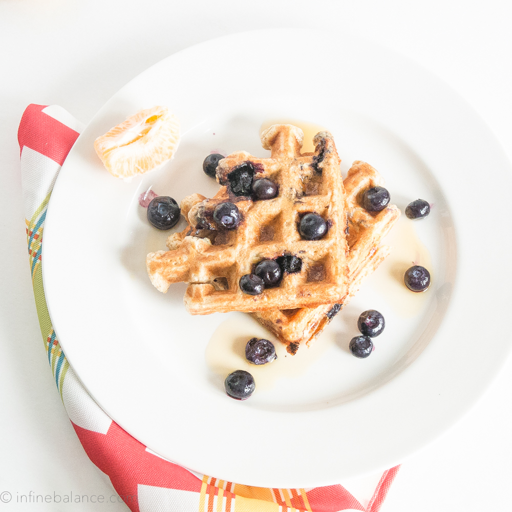Whole Wheat and Blueberry Waffles #recipe #breakfast