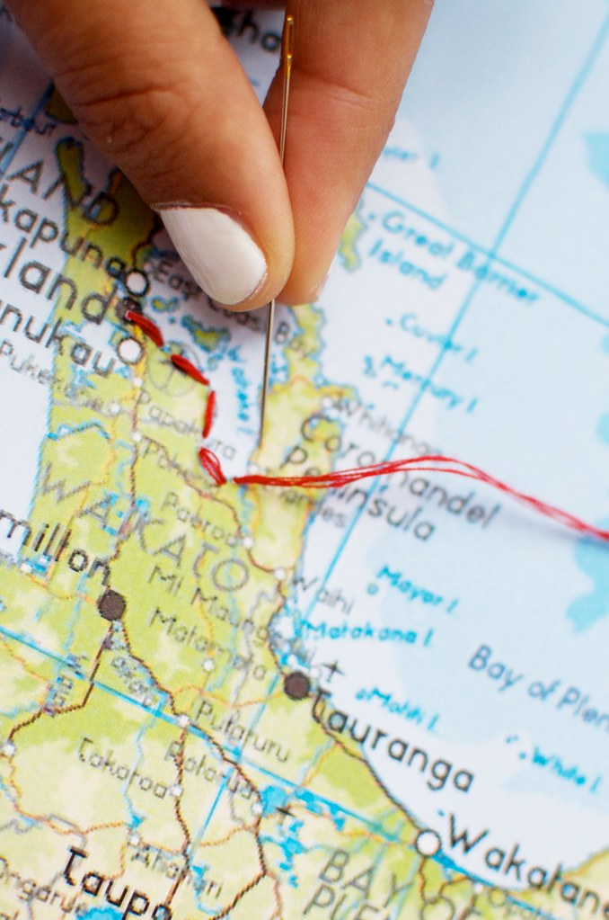 DIY Embroidered Trip map   A Pair   A Spare Pin It
