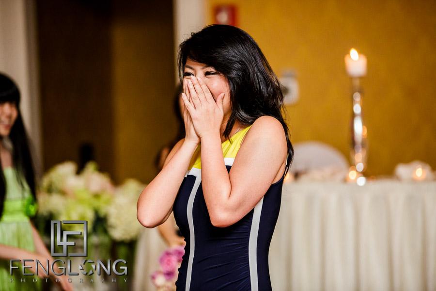 Bride tosses the bouquet