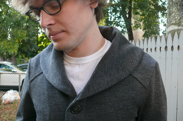 Newcastle Cardigan made with wool double knit from Mood Fabrics