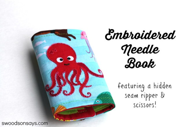 Embroidered Octopus Needle Book