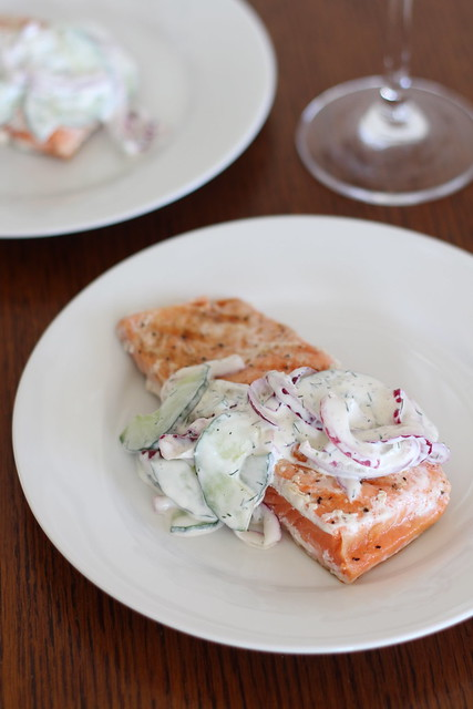 Grilled Salmon with Tangy Cucumber Dill Salad