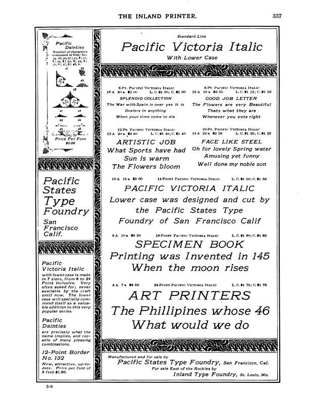 Pacific Victoria Italic, Inland Printer December 1898