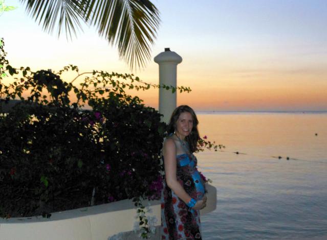 Sunset in Jamaica on the babymoon.