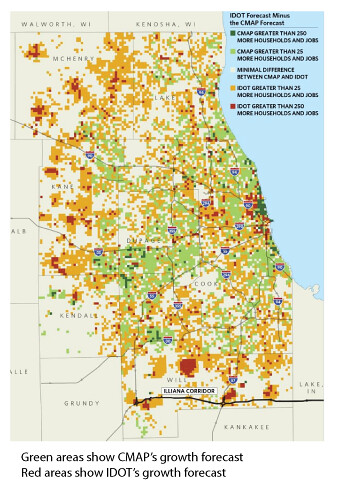 Job and housing growth according to IDOT versus CMAP