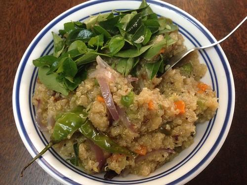 quinoa upma and curry leaf salad for hardcore herbivores