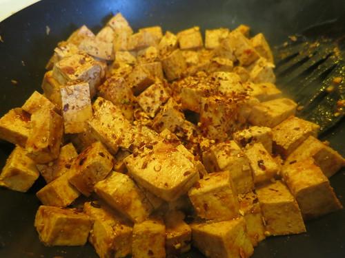 Spicy tofu and broccoli stir fry