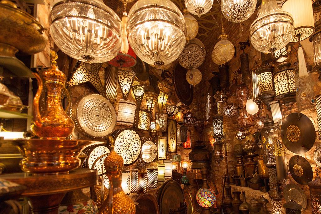 Merchants shop at the Grand Bazaar, Istanbul.