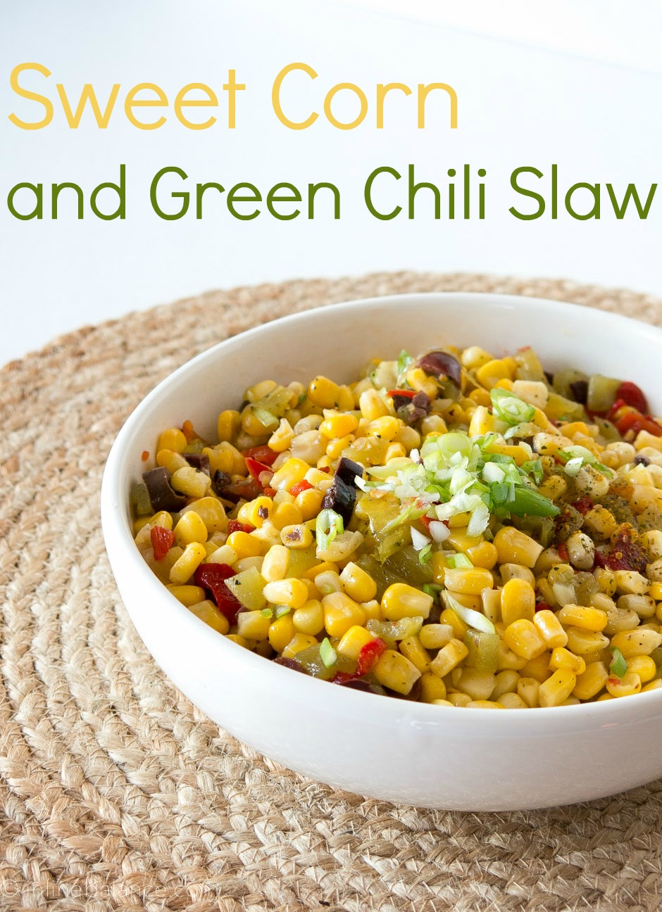 corn and green chili salad in a white bowl - image with text