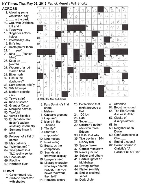 NYT Thursday Puzzle - May 9, 2013