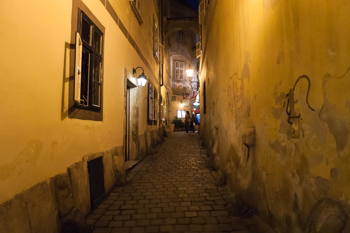 Entre las calles de Viena al anochecer