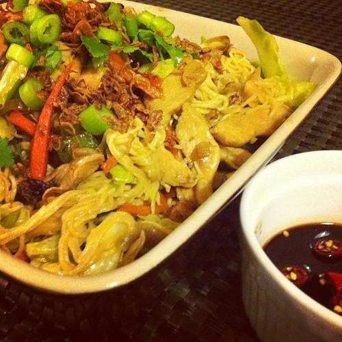 On the menu for tonight's dinner: Chicken stir fry egg noodles.