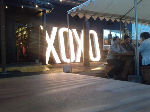 XOXO closing party signage