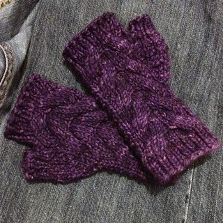 Purple Cabled Mitts