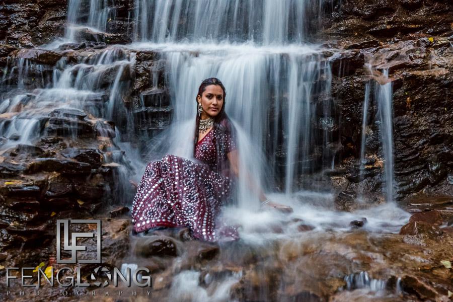 Trash the saree Indian pre-wedding photography at waterfall in Atlanta