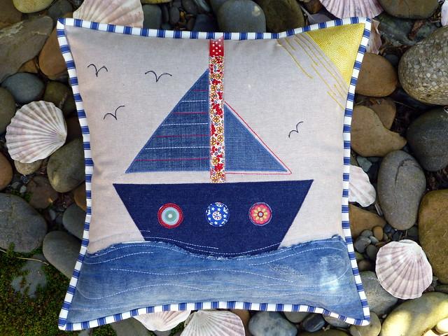Denim Sailboat Cushion (Pretty Patches July16)
