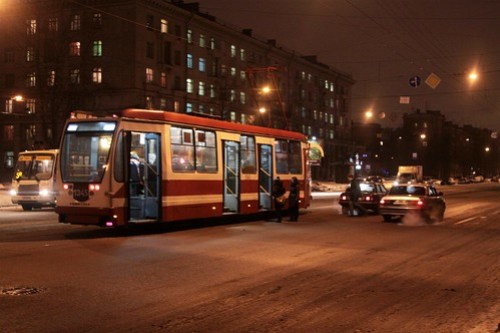 Dropping off tram passengers in the middle of a bust Saint Petersburg street