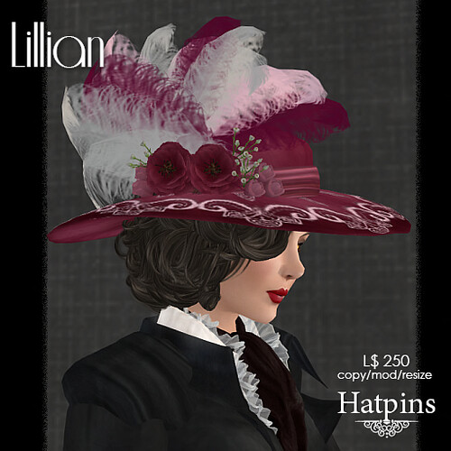 Hatpins - Lillian Hat - Burgundy