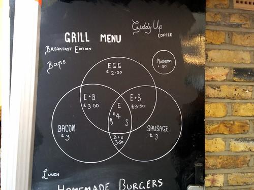 Venn grill menu, Giddyup Coffee, Fortune Park, Barbican, London, UK