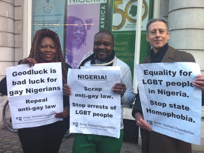 Over sixty people, mainly of African origin, protested against Nigeria's newly signed anti-gay law outside the Nigerian High Commission in London on Thursday, February 20