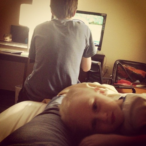 My current view... 3 boys and a wii.