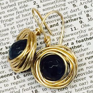 Work in progress: wire wrapped agate earrings