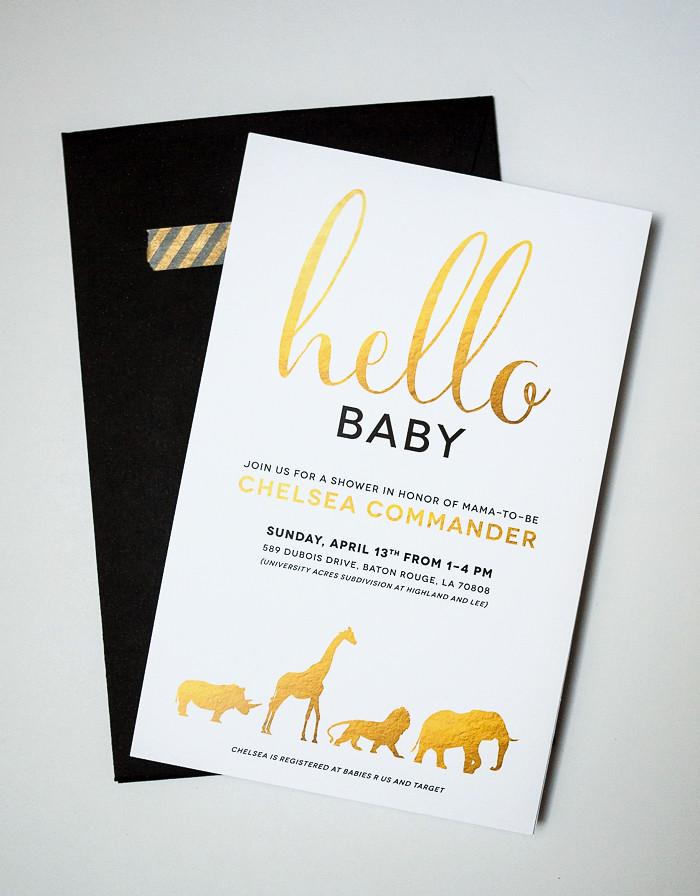 Gold and White Safari Animal Baby Shower Invitation