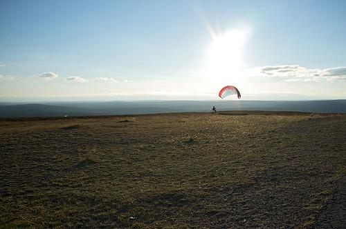 Paraglider on Kaunispää, Saariselkä, Lapland