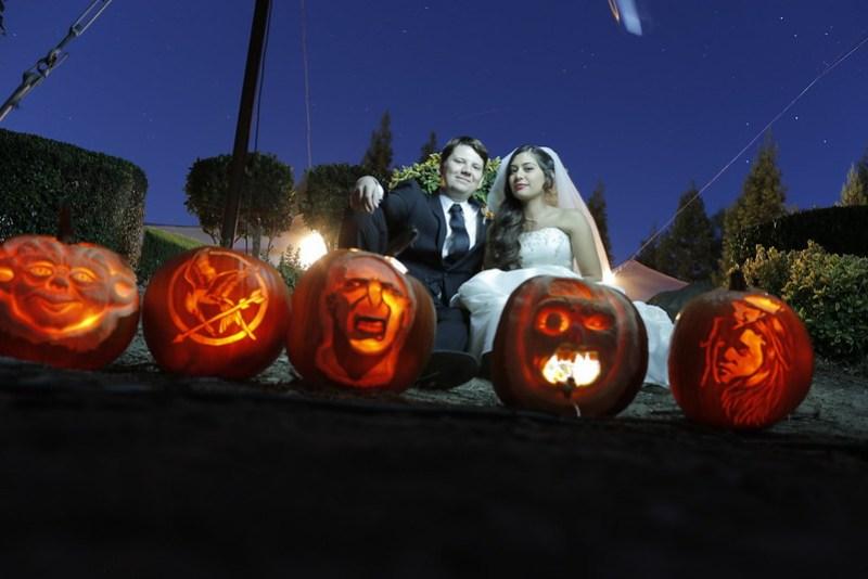 Sculpted pumpkin halloween wedding centerpieces