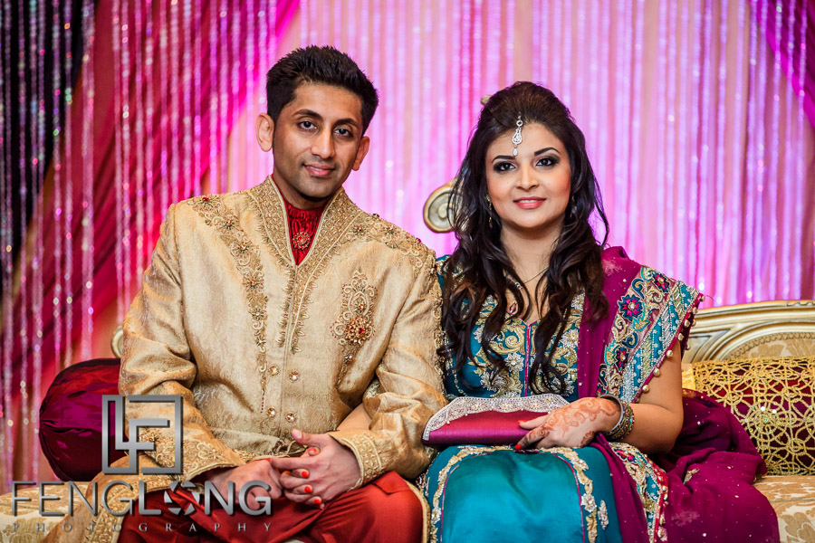 Ismaili bride and groom during reception on wedding day