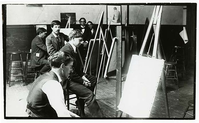 [Xavier Martinez (forefront, facing camera) and fellow art students at Mark Hopkins Institute of Art in San Francisco, Calif., ca. 1898]