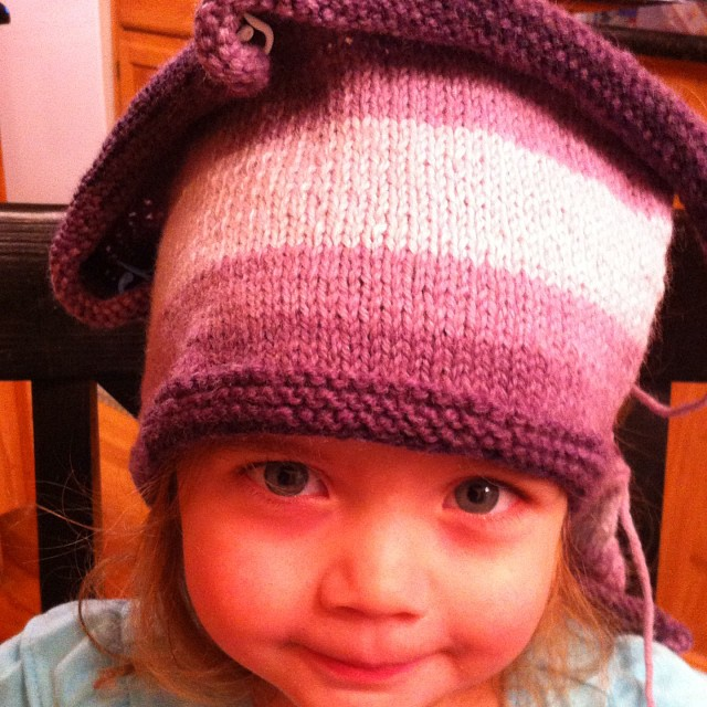 Ash wants her #hat now!  Just need to sew it up honey. #knit