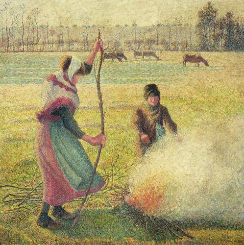 Camille Pissarro, Jovem camponesa fazendo fogo, 1887-1888