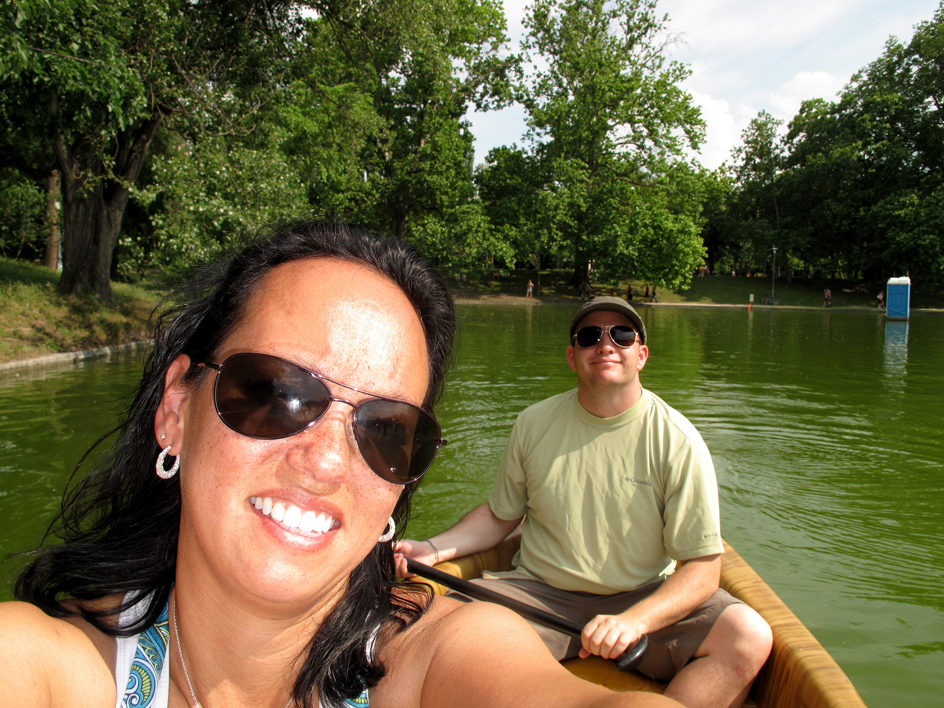 Heather and Matt canoeing around City Park.