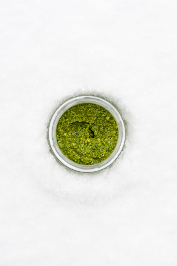 Winter walnut parsley pesto--no sad-looking out-of-season basil needed