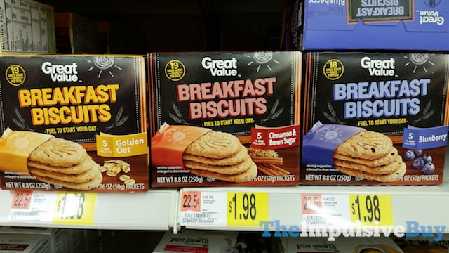 Great Value Breakfast Biscuits (Golden Oat, Cinnamon & Brown Sugar, and Blueberry)