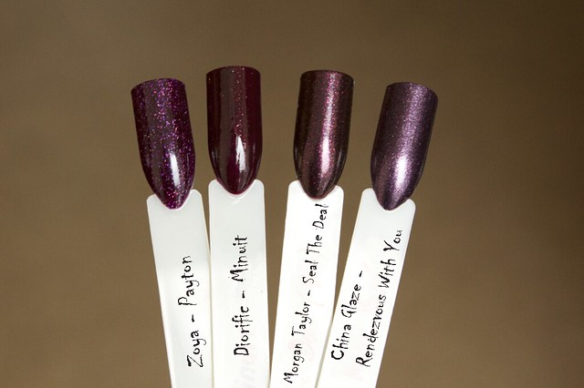 08 Dior Diorific Minuit comparison comparison with Zoya Payton, China Glaze Rendezvous With You, Morgan Taylor Seal The Deal