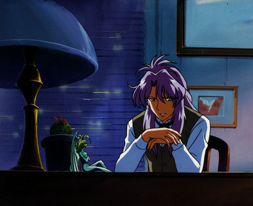 shido and guni from nightwalker: anime cel with original matching background