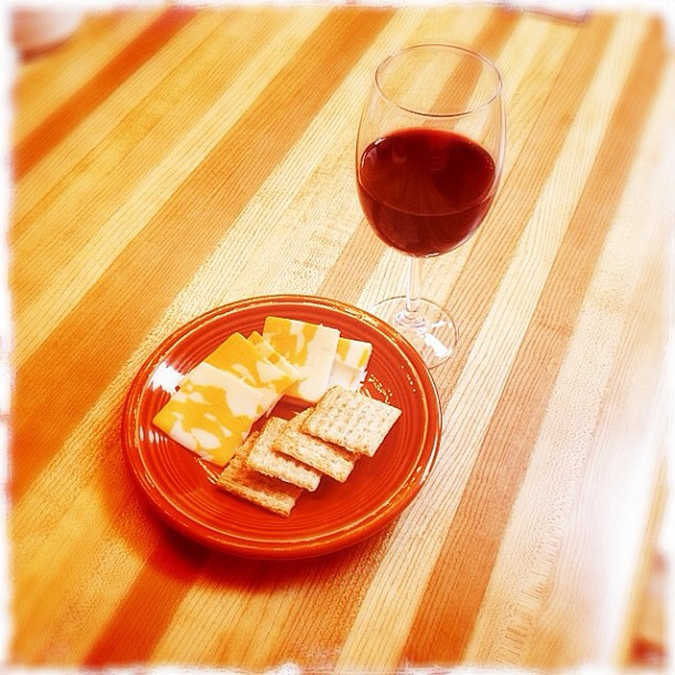 May 9 - a snack {cheese, crackers & a great glass of wine}. So fine!  #fmsphotoaday #snack #cheese #crackers #wine
