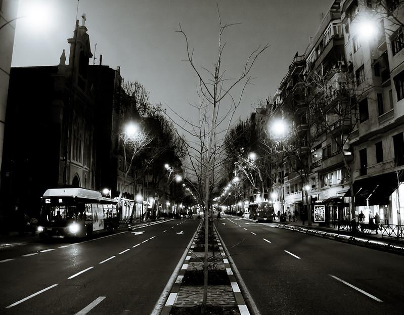 Madrid nocturno B/N