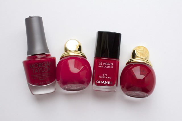 01 Comparison Morgan Taylor Man Of The Moment, Dior Diorific Royale, Marilyn, Chanel Rouge Rubis