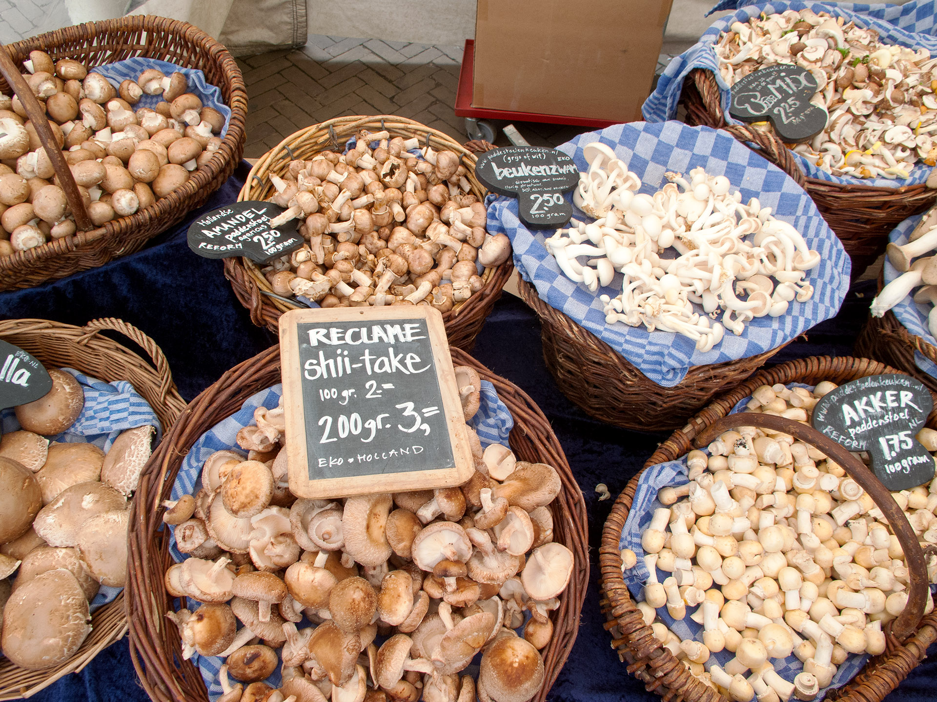 Mushroom vendor, Amsterdam.
