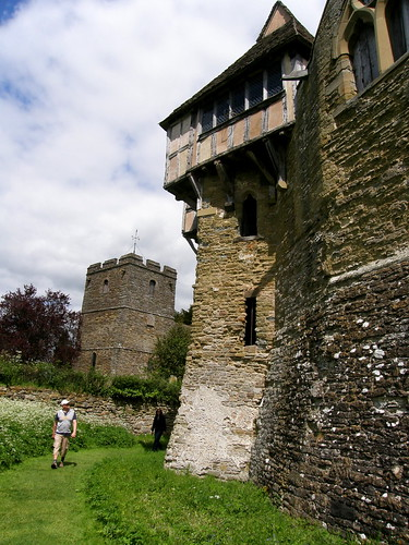 Stokesay Castle - Church and North Tower from the moat