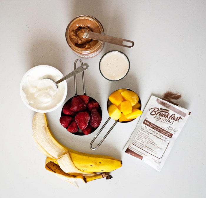 Chocolate Almond Strawberry Mango Smoothie Ingredients