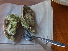 Snack: raw oysters, frozen kohlrabi