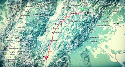 Map - Bogota to Neivac