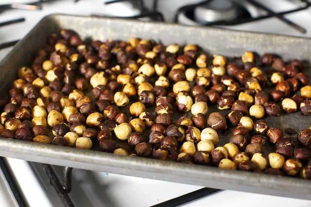 well-toasted hazelnuts for best flavor