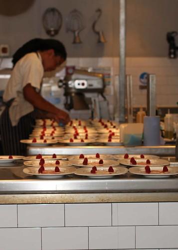Desserts being assembled