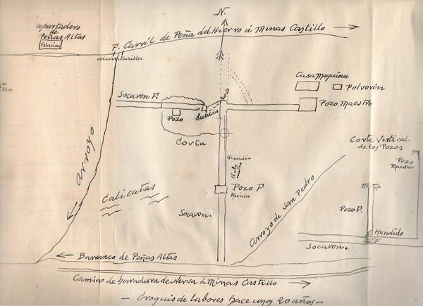 Plano manuscrito de la mina, elaborado por su último propietario, Melchor Salaya, a petición del capitán Santiago Robles Alés
